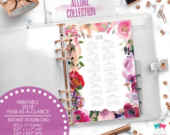 Printable Calendar A5 A4 Letter Watercolor Planners 2018 Year at a Glance   Allure Floral Collection   ACYG18