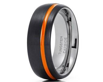 Orange Tungsten Wedding Band Men & Women Black Tungsten Ring Anniversary Tungsten Carbide Ring Comfort Fit