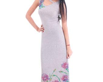 Elegant long cotton dress made of elastic fabric in soft beige colour with hand painted flowers