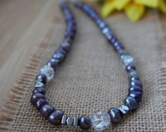 Black Pearl and Hematite Beaded Necklace