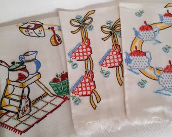 Vintage Embroidered Kitchen Towels - Mid-Century
