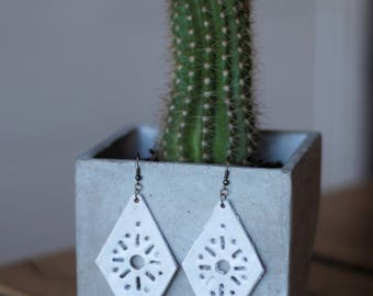 Grace White Earrings | Leather Earrings | Birthday Gift | Anniversary | Gifts under 25 | Handmade | Gifts for Her