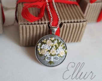 Embroidered pendant Christmas wedding gift Cotton Hand embroidery jewelry White rose bouquet Floral necklace Eco Beauty-gift Unusual present
