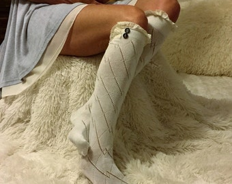 Sale Womens Boot Sock, Lace Boot Socks, Womens Lace Boot Socks, Boot Socks Lace, Lace Socks, Boot Cuffs, Lace Leg Warmers, Lace Cuffs