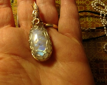 Moonstone silver and gold wire wrapped pendant necklace