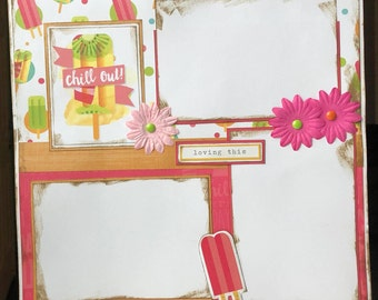 CLEARANCE Chill Out 12x12 Premade Scrapbook Pages 12x12 Scrapbook Layout Summer