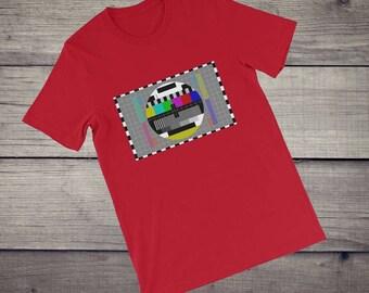 TV Test pattern T-Shirt, Sheldon Cooper shirt, test card T-Shirt, men women Short-Sleeve Unisex, nerd shirt, geek shirt, television shirt