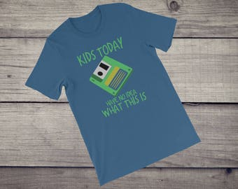 Kids today have no idea what this is T-Shirt 1980s 80s 3.5 Floppy Disk diskette coder coding nerd geek Short-Sleeve Unisex T-Shirt tshirt