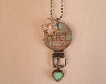 For the Love of Art (living) altered wood poker chip pendant necklace with charm