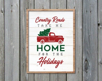 Home For The Holidays SVG, Christmas Truck SVG, Fixer Upper Christmas SVG, Joanna Gaines Christmas Vector, Cut File, Stencil, Print, Sign