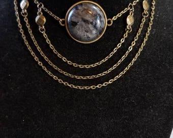 """14"""" Labradorite cabochon necklace"""