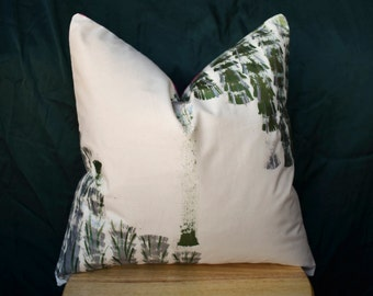 Brushed Leaflet | Hand Painted Muslin Cover | Decorative Pillow Sham | 16 x 16 | Made to Order