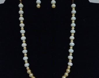White Crystal and Gold Pearl necklace & earring set with gold accent