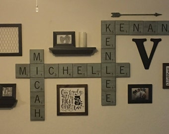 "Scrabble inspired 4"" or 5.5"" painted wood tiles. Customized made to order."