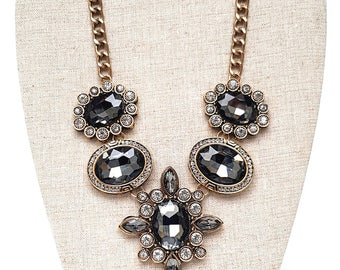 Black Crystal Vintage Gold Statement Necklace