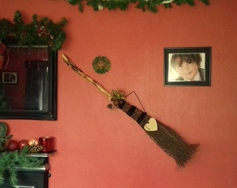 Full Size Decorated Birch Besom Broomstick with Charms and Spell Bottle, Witch Wiccan Pagan Handfasting Gift
