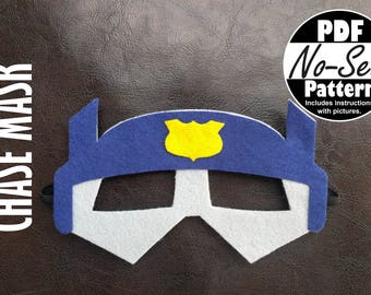 Chase Rescue Bot No-Sew Mask Pattern