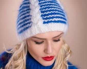 Mohair hat, Fair isle hat, Fluffy knit hat, Fur Pompom hat, Thick beanie hat, Valentine gift, Fuzzy hat, Ski hat, Icelandic hat, Nordic hat