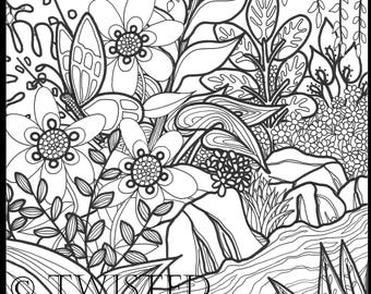 Instant Download - Adult Coloring Page - Tropical Plants