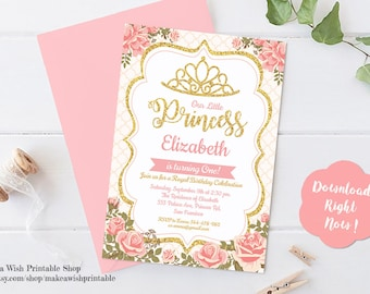 Princess in Floral Garden Birthday Invitation, Floral Invitation Template, Crown Invitation Girl Birthday, Girl Invites, Pink and Gold Party