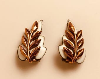 Vintage Renoir Matisse Copper and White Enamel Leaf Earrings