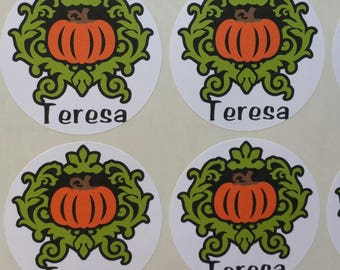 Personalized Pumpkin Stickers for Back to School, Name labels, cards, etc set of 20