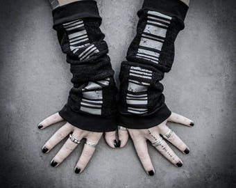 W16 - Barcode Arm Warmers, Ooak hand cuffs Dystopian Accessory,  Industrial Cyberpunk Black Arm Warmers, Edgy Grunge one of a kind
