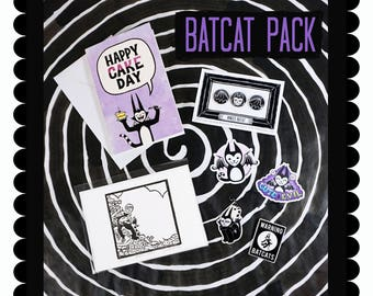 BATCAT PACK - stickers pins greeting card limited lino print charms Get A Whole Bunch of batcat goodies in one pack
