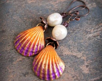 Fantasy Sea Shells. Colorful Artisan made earrings. Boho Chic earrings. Handmade beads, antiqued solid copper. Orange Pink.