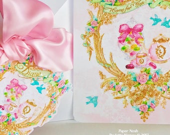 Ladurée Inspired Watercolor Invitations Wedding, Anniversary, Tea Party, Birthday or Event Handpainted Edges with Envelope
