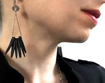 Feather - Black Bird Wing Earrings - Long Black Wood Stick Flare Earrings - Edgy Boho Tribal Jewelry, Contemporary Designer Modern Jewelry