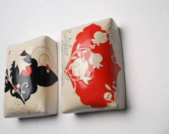 Wall pillow tile in Candy Red & Ivory w. Pomegranate floral plus Pink and Navy detail,  Victorian modern Home decor art