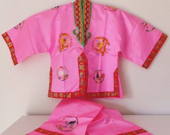 Child's Chinese Outfit Neon Pink New Year Chinese Zodiac Top Pants Pink Silk Chinese Animals Mandarin Tang Zhuang Suit Asian Festival Wear
