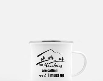 Camp Mug. Mountains Are Calling. Coffee Mug. Cast Iron Mug. Camping Mug. Gift for Hiker. Camping Gift. Backpacking Gift. Personalized Mug