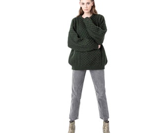MERINO WOOL sweater Oversize forest green Extra Large aran craft Irish cable knit winter women / Better Stay Together