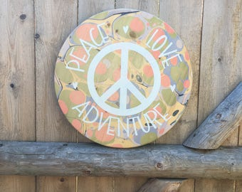 Peace Sign Love Adventure / Boho Decor / Hippie / Wooden Wall Hanging / Home Decor / Marbled Wood / Positive Inspiration