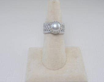 White Pearl Silver Ring Lacy Silver Ring with White Pearl Silver Ring Size 7 1/2 ring Sterling Silver Pearl Ring Artisan Wedding Party