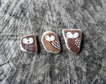 Three Tiny Beach Pottery Owls