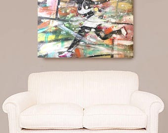 The Tennis Match, African American Art, Tennis Art, Canvas Wall Art,Home Decor Art, Canvas Painting,Abstract Art, Wall Art, Serena