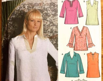 Plus Size TUNIC TOP Sewing Pattern - Tunic Tops Neckline & Sleeve Variations Simplicity 5197 OOP 5 Sizes