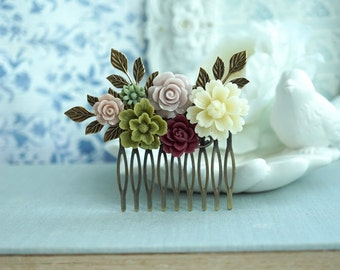 Wedding Hair Comb Burgundy Red Olive Green Comb Dusty Rose Ivory Wedding Comb Maroon Dusty Rose Flower Hair Piece Romantic Bridesmaids Gift