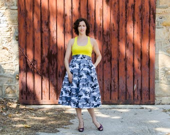 Camouflage Maxi Skirt Black and White, High Waist Cotton Full Skirt, Camo Long Skirt with Pockets
