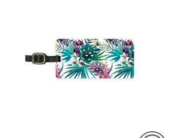 Luggage Tag Tropical Fern Summer Floral Personalized Metal Luggage Tag  With Printed Custom Info On Back, Single Tag