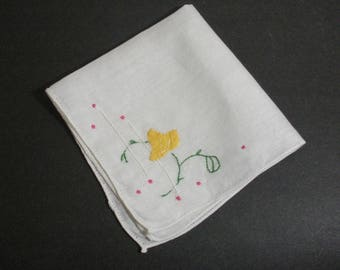 Vintage White Hanky with Yellow Flower Applique