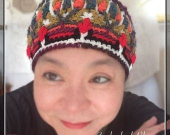 Crochet Cathedral Blooms – colourful overlay crochet beanie, winter beanie, textured beanie