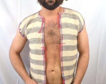 Vintage Wool Woven Rainbow Hippie Vest
