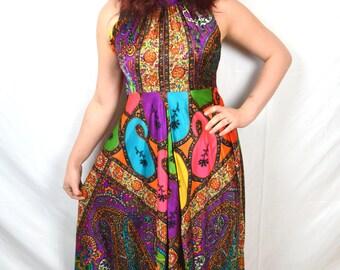 Vintage 1960s Rainbow Neon Swirl Psychedelic Maxi Dress - Elinor Gay Original