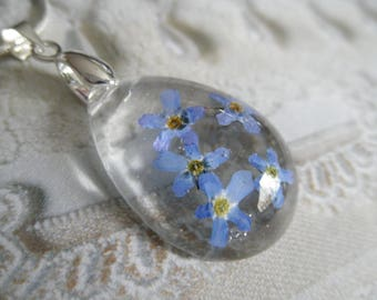 Remember Me Always-Sky Blue Forget-Me-Nots Encased In Glass Pressed Flower-Teardrop Pendant-Symbolizes True Love, Remembrance,Memories
