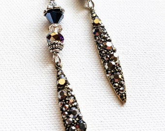 Long black rhinestone crystal earrings, modern dangle black earrings, rock glam earrings, elegant drop rhinestone earrings, cocktail earring