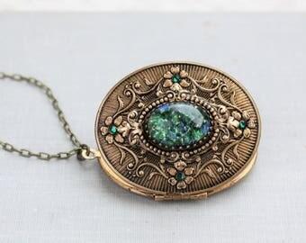 Green Fire Opal Locket Necklace